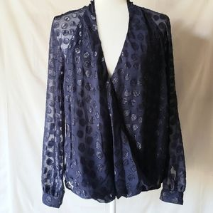 Jennifer Lopez Navy Blue Faux Wrap Blouse